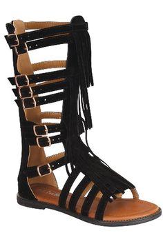Black Fringe Tall Sandal Size 9-4