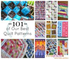 101+ of Our Best Quilt Patterns. From applique and jelly rolls to nine patch and paper piecing, you're sure to find a favorite quilting pattern among our huge selection! Sew a stunning blanket with our quilting patterns and tutorials.