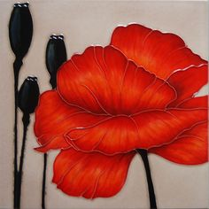 Rouge Red Poppy Decorative Ceramic Tile by Louise Lipman