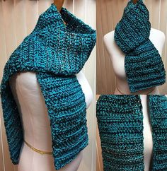 Crochet Scarf, Turquoise Scarf, Turquoise and Black Scarf, Open Ended Scarf, Chunky Scarf, Crochet Scarf, Crocheted Scarf, Winter Scarf by CozyNCuteCrochet on Etsy