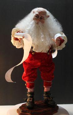 Santa, checking his list. Art Dolls, Santa