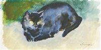 Cat watercolor, tempera on paper 10 x 19,5 cm