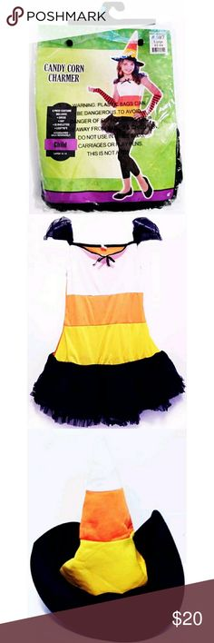 Candy Corn Charmer Costume NWT Candy Corn Charmer Costume. Child Halloween Includes: 1 Candy Corn Stripped Dress; Front White, Yellow & Orange Back is Only Orange. 1 Candy Corn Stripped Hat. 1 Pair Fingerless Gloves. 1 Pair Footless Leggings. Retails for $ 29.99. Smoke Free Environment. Dresses Casual
