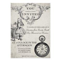 alice in wonderland wedding invitation - Alice In Wonderland Wedding Invitations