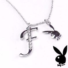 Playboy Necklace Initial Letter F Pendant Bunny Charm Crystals Platinum Plated #Playboy #Pendant