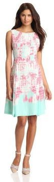 Nine West Dresses Womens Printed Fit And Flare Dress