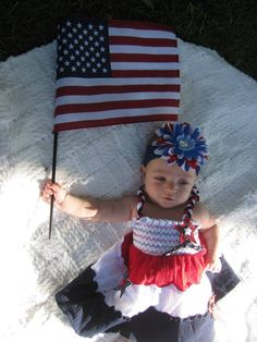 4th july USA flag cute baby