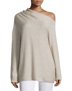 W0BC3 THE ROW Long-Sleeve Asymmetric Off-the-Shoulder Sweater, Alabaster