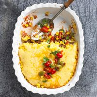 Mexicali Hamburger Casserole:   Ground beef and pantry-ready ingredients, such as salsa and canned corn, make this one-dish dinner nice and easy. A corn bread topper adds a homey touch.