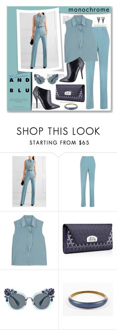 """Blue And Blu Fashion"" by leanne-mcclean ❤ liked on Polyvore featuring Bottega Veneta, Christian Louboutin, Miu Miu and Alexis Bittar"