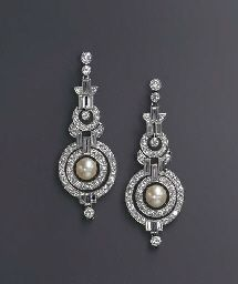 ART DECO NATURAL PEARL AND DIAMOND EAR PENDANTS