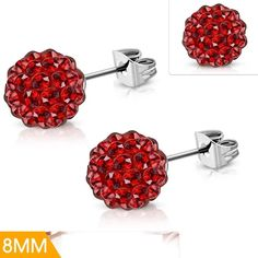 Stainless Steel Argil Disco Ball Shamballa Stud Earrings W/ Light Siam Red CZ Pair 70s Costume, Hippie Costume, Electric Daisy Carnival, Disco Ball, Rave Wear, Steel Jewelry, Rave Outfits, Hippie Style, Costume Jewelry