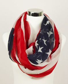 American Flag Infinity Scarf USA Scarf American Flag by JuicyBows