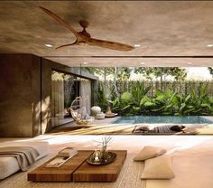 Modern Tropical House, Tropical House Design, Tropical Houses, Bali House, Dream Home Design, Home Interior Design, Villa Design, Indoor Outdoor Living, House And Home Magazine