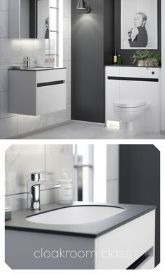 Bringing big style to British bathrooms, the Contemporary Fitted range from Utopia is uniquely tailored to make a statement, and this monochrome cloakroom certainly speaks volumes. Go to utopiagroup.com to find your nearest showroom. British Bathroom, White Bathroom Furniture, Showroom, Monochrome, Bathrooms, Range, Contemporary, Mirror, Storage