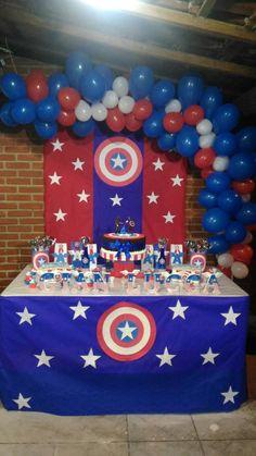 Captain America Avengers Birthday, Superhero Birthday Party, 4th Birthday Parties, Birthday Party Decorations, Captain America Birthday Cake, Captain America Party, Anniversaire Captain America, Baby Boy First Birthday, Backdrops For Parties