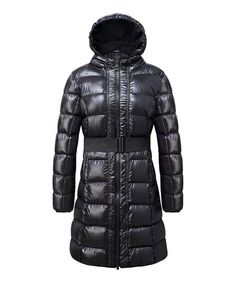 The Whole Shebang Black Puffer Full-Length Hooded Coat Long Puffy Coat, Ladies Hooded Coats, Cold Weather Fashion, Black Puffer, Hoods, Winter Jackets, Shoe Bag, How To Wear, Shopping