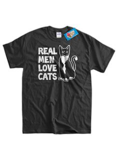 Real Men Love Cats Husband Dad Gift Funny Geek by IceCreamTees, $14.99