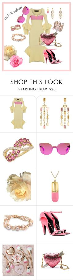"""pink & yellow"" by cheryl-muscoe ❤ liked on Polyvore featuring Roland Mouret, David Yurman, Lord & Taylor, RetroSuperFuture, True Rocks, Chan Luu, Calvin Klein 205W39NYC and Chloé"