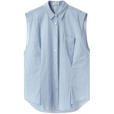 Acne Studios Scallop Crinkled Shirt ($100) ❤ liked on Polyvore featuring tops, shirts, blouses, tank tops, pleated shirt, oversized tops, collared shirt, button shirts and button front tops