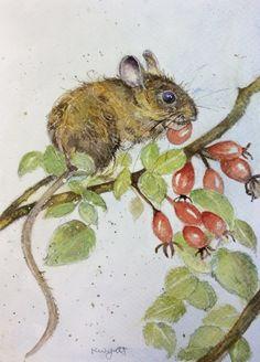 kate wyatt artist   Wood Mouse With Berries-Original Watercolour-Kate Wyatt