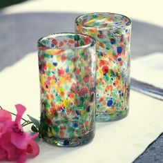 Confetti Glass Water Tumblers