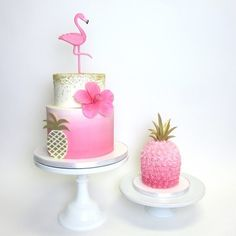 Chic and Sweet Artisan Cakes - Chic and Sweet Artisan Cakes Luau Birthday Cakes, Pool Party Cakes, Hawaiian Birthday, Birthday Cake Girls, Luau Party, Pink Flamingo Party, Flamingo Cake, Flamingo Birthday, Beautiful Birthday Cakes