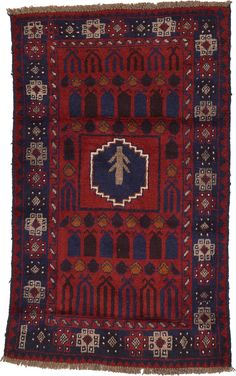 Red 2' 8 x 4' 5 Balouch Persian Rug | Area Rugs | eSaleRugs
