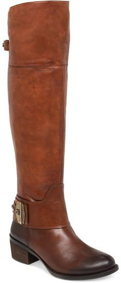 $124, Brown Leather Over The Knee Boots: Vince Camuto Beatrix Over The Knee Wide Calf Riding Boots. Sold by Macy's. Click for more info: http://lookastic.com/women/shop_items/126049/redirect