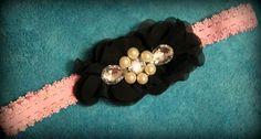 Black Chiffon Flower Headband $6.50