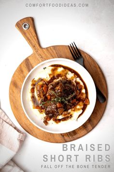 Braised Short Ribs: A perfect indulgent meal. Fall-off-the-bone tender short ribs slow cooked in dark stout gravy. It's pure comfort food.  #beefshortribs #shortribs #braisedshortribs #beerbraisedshortribs #comfortfood #dinnerpartyrecipes #whatsfordinner #recipe #dinner #ribs #mashedpotatoes #easydinner #instantpot Rib Recipes, Entree Recipes, Fall Recipes, Crockpot Recipes, Holiday Recipes, Healthy Recipes, Beer Braised Short Ribs, Beef Short Ribs, Easy Family Dinners
