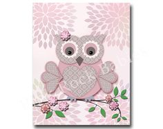Hey, I found this really awesome Etsy listing at https://www.etsy.com/listing/216462956/pink-owl-nursery-wall-decor-bird-nursery