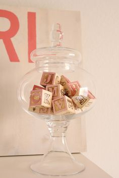 Nursery Décor - vintage wooden letter blocks in apothecary jar