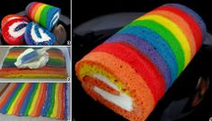 How to make a colourful rainbow cake roll with delicious whipped cream cheese filling.- video tutorial - http://www.youtube.com/watch?v=vBvo7RVSEvk=youtu.be