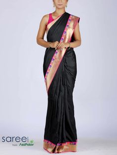 BLACK SILK SAREE WITH RESHAM WORK