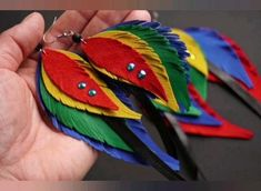 DIY faux leather feather SVG earrings BUNDLE Designed by Ilze Apine #diyearrings #diy #fauxleather #leather #leatherfeathers #svgearrings #svg #parrotsvg #svgbundle #earringsbundle #colorful #parrotfeathers #rainbow #etsy #etsyshop #longearrings #featherearrings #leathercraft Gifts For Nan, Sister Gifts, Gifts For Wife, Gifts For Friends, Feather Earrings, Diy Earrings, Colorful Feathers, Clay Jewelry, Leather Craft