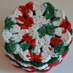Crochet Christmas Coasters Set of 8 by FiberArtCrochet on Etsy, $16.00