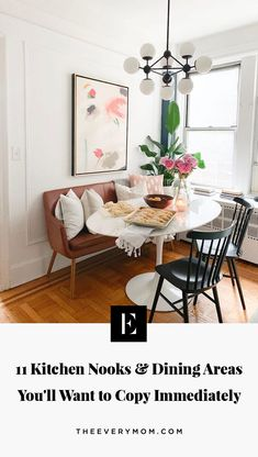 11 Kitchen Nooks and Dining Areas You'll Want to Copy Immediately - Modern Dining Area Design, Dining Nook, Cozy Dining Rooms, Dining Room In Kitchen, Dining Bench With Back, Dining Table In Living Room, Mid Century Dining Table, Dining Decor, Kitchen Tables