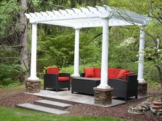 Using pillars and sandstone caps salvaged from a house that had been demolished, sandstones from a city sidewalk replacement and river stones from their stream, this couple built a pergola for a fraction of the cost most people would spend. See their story here.