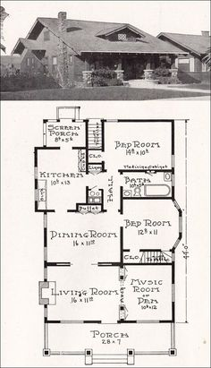 California Craftsman Bungalow House Plan - 1918 Representative California Homes . - California Craftsman Bungalow House Plan – 1918 Representative California Homes – E. Craftsman Bungalow House Plans, Bungalow Floor Plans, Bungalow Homes, Craftsman Style Homes, Craftsman Bungalows, House Floor Plans, Bungalow Designs, Craftsman Decor, Ranch Homes