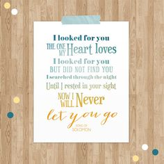 Song of Solomon  Bible Verse Art  Typographic by NotBySightDesign