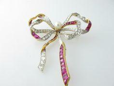 Antique, Ruby, Diamond and Natural Pearl Bow Brooch | John M. Ullmann, Inc.