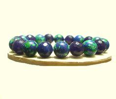 Ocean Jasper Bracelet, 10mm Beads, Blue Jade, Men Bracelet, Chakra, Mala, Yoga, Handmade, Natural Stones Bracelet,  Leo, Virgo,Scorpio de ArtGemStones en Etsy