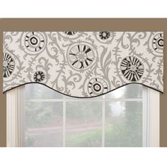 This classic valance works to define window design. It showcases a floral print displayed in black and gray. Use this beautiful valance for kitchens and other living spaces.
