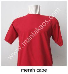 Kaos O-neck Lengan Pendek Merah Cabe, bahan 20s combed cotton. Tersedia juga model lengan panjang untuk warna merah cabe.