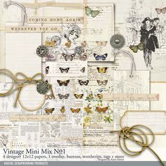 Vintage Mini Mix Kit No. 01 vintage scrapbook downloads with butterflies and fashion for cardmaking and scrapbooking #designerdigitals #digitalscrapbooking #scrapbooking #vintagestyle #butterfly #vintage #heritage