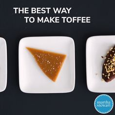 Toffee and caramels can be problematic to make at home. Thomas Joseph shares a few important details to ensure sweet success. Candy Recipes, Sweet Recipes, Dessert Recipes, Recipes Dinner, Lunch Recipes, Just Desserts, Delicious Desserts, Yummy Food, Baking Desserts