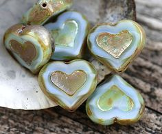 Opal Blue Heart beads Picasso beads czech glass table by MayaHoney