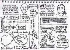 Daniel Naumann: Working with clients to get better solutions. Sketchnoting by Matthew Magain.
