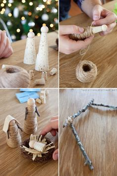 Cork Twine Wooden Bead Twig nativity I want to make the stable. Christmas Cookie Jars, Christmas Nativity, Noel Christmas, Homemade Christmas, Christmas Projects, Holiday Crafts, Xmas, Christmas Ornaments, Angel Crafts